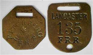 2 Brass Baggage Tags: F&WRR, FRR