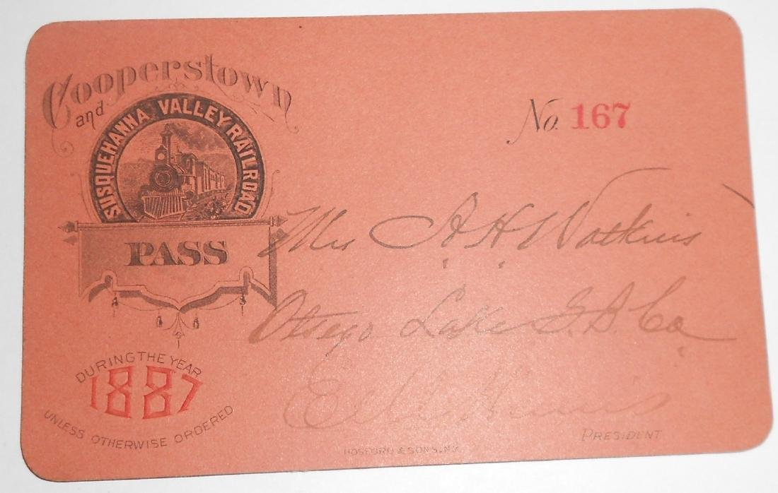 Cooperstown & Susquehanna Valley 1887 Pass