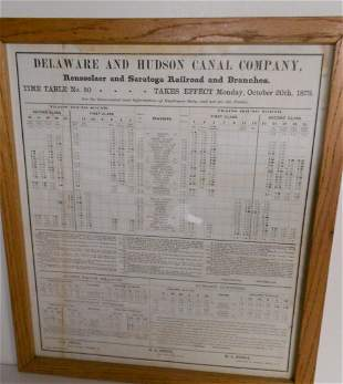 D&H Canal Co 1873 Employee Timetable