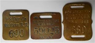 3 Brass Baggage Tags: P Stm Pkt, B&M, Conn Riv