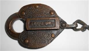 New York Ontario & Western Brass Cast Lock