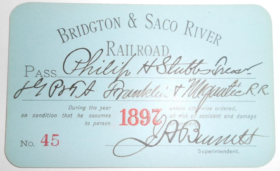 Bridgton & Saco River Railroad Pass 1897