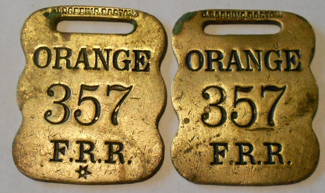 "Fitchburg Railroad Baggage Tag Set ""Orange"""