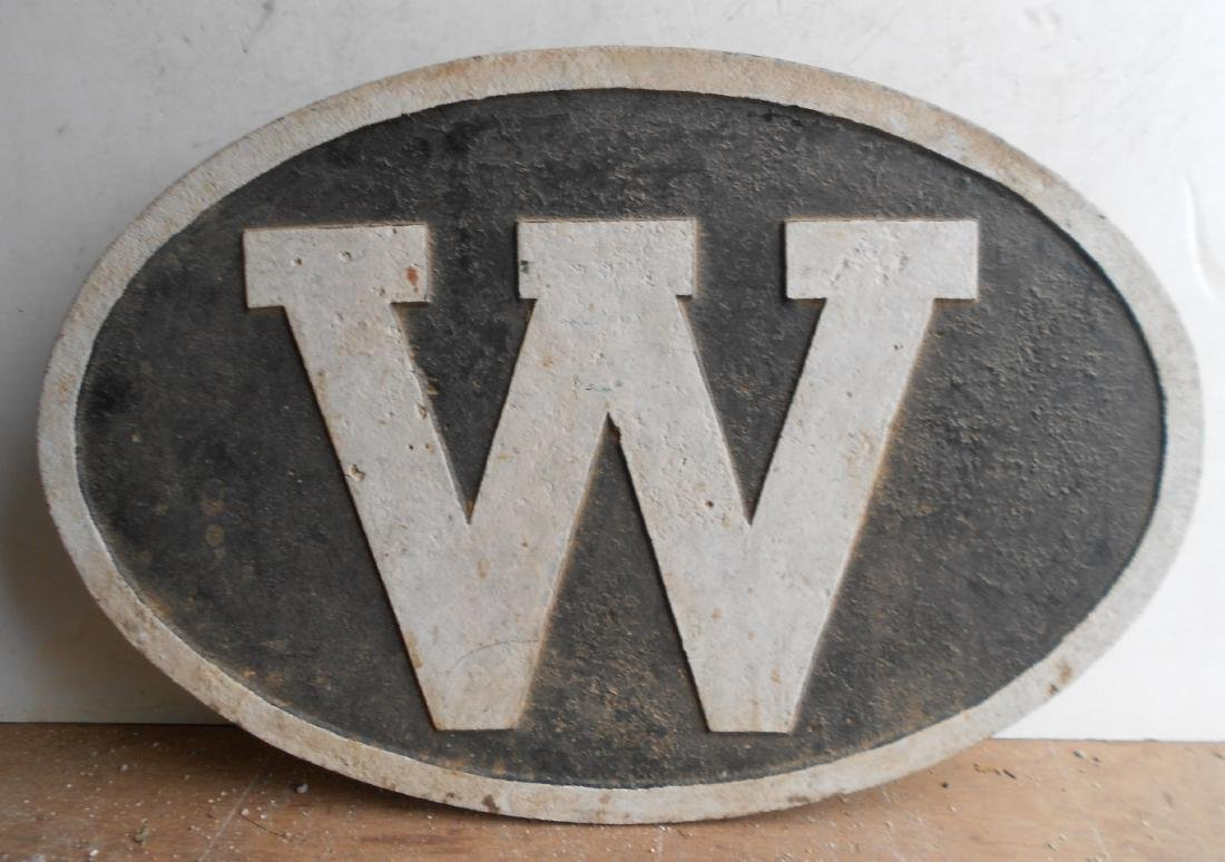 "* Cast Iron Locomotive ""W"" whistle Sign"