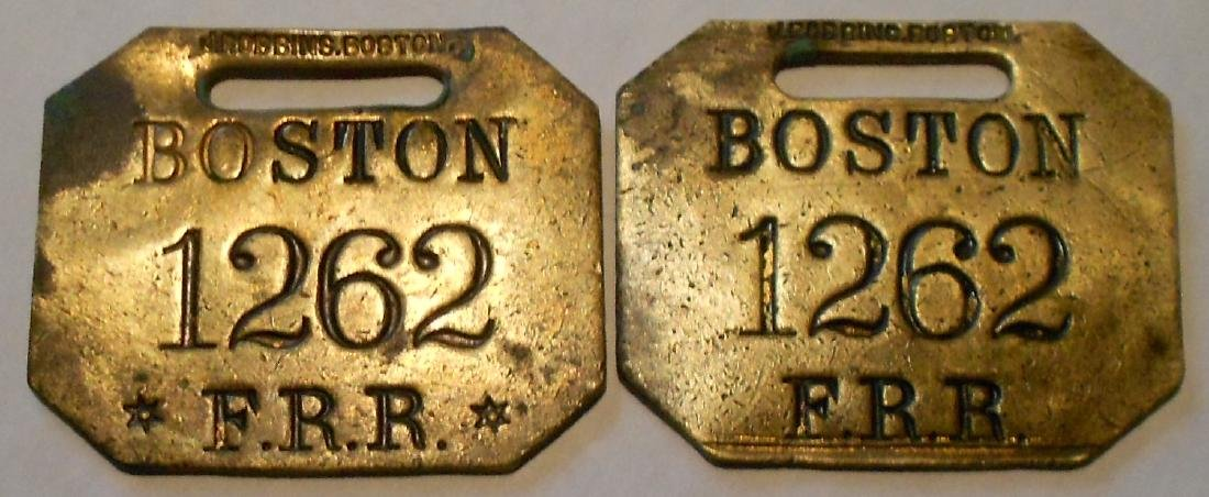 "Fitchburg Railroad Baggage Tag Set ""Boston"""