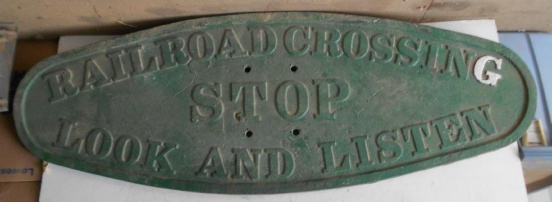 "* Railroad Cast Iron Crossing Sign - 56"" x 19"""
