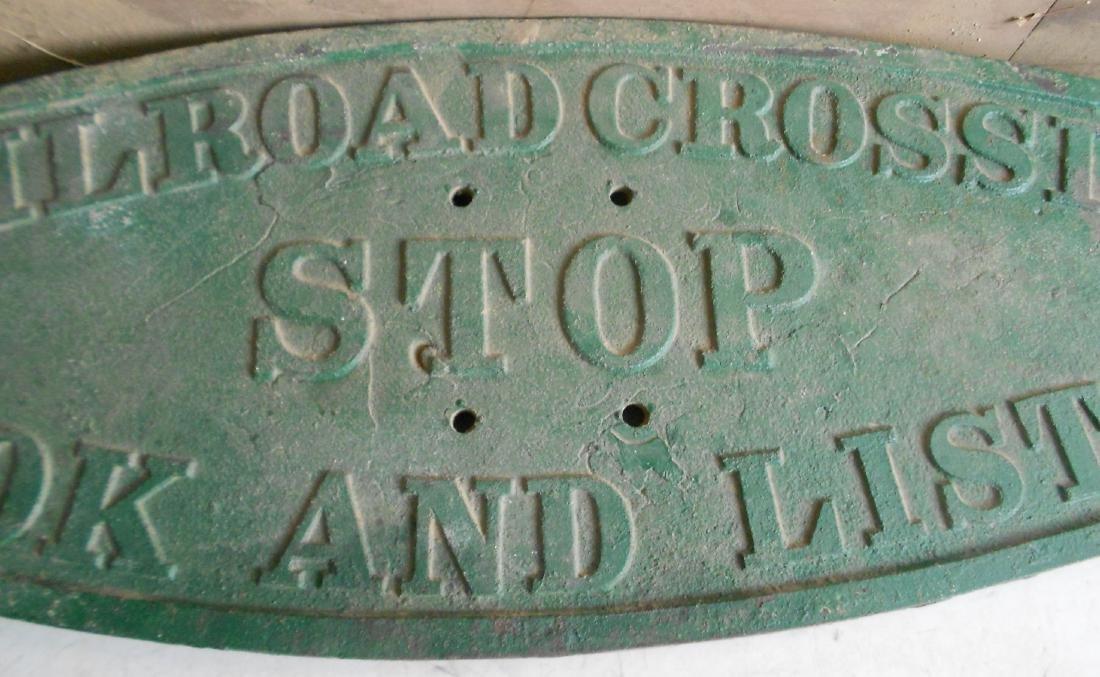 "* Railroad Cast Iron Crossing Sign - 56"" x 19"" - 2"