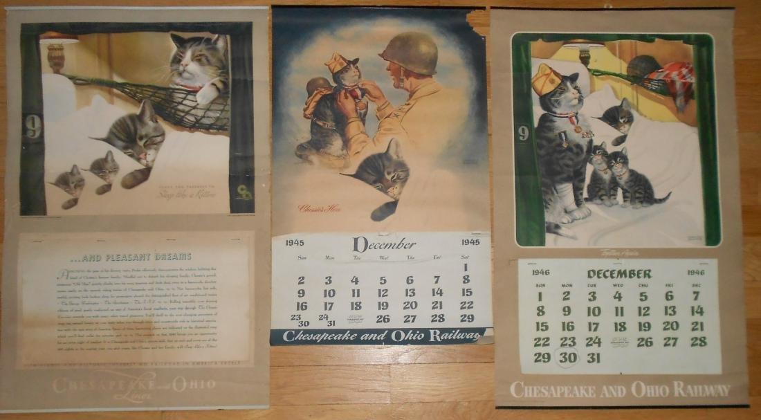 3 Chessie Calendars 1940, 1945, 1946
