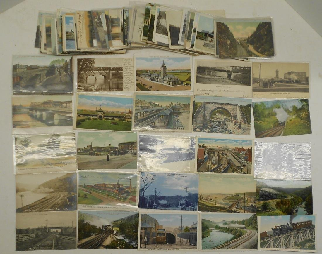 "Postcards 2.5"" stack. Railroad Depots, others"
