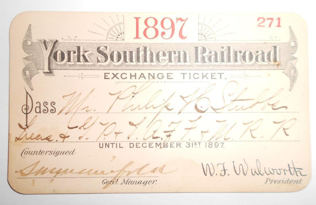 York Southern Railroad Annual Pass 1897