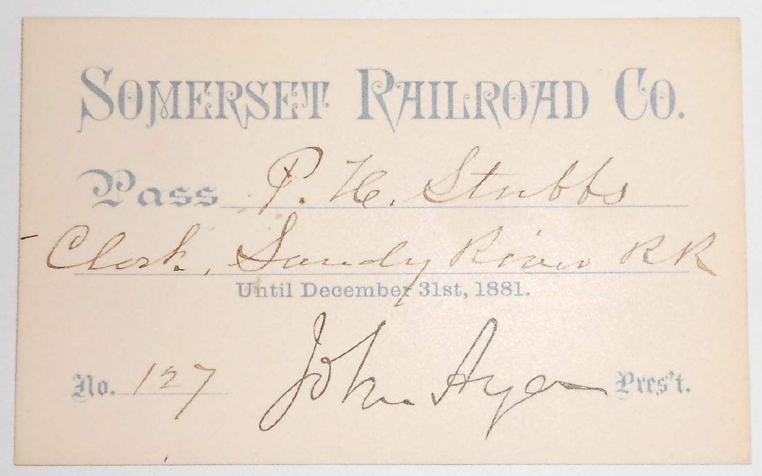 Somerset Railroad Annual Pass 1881