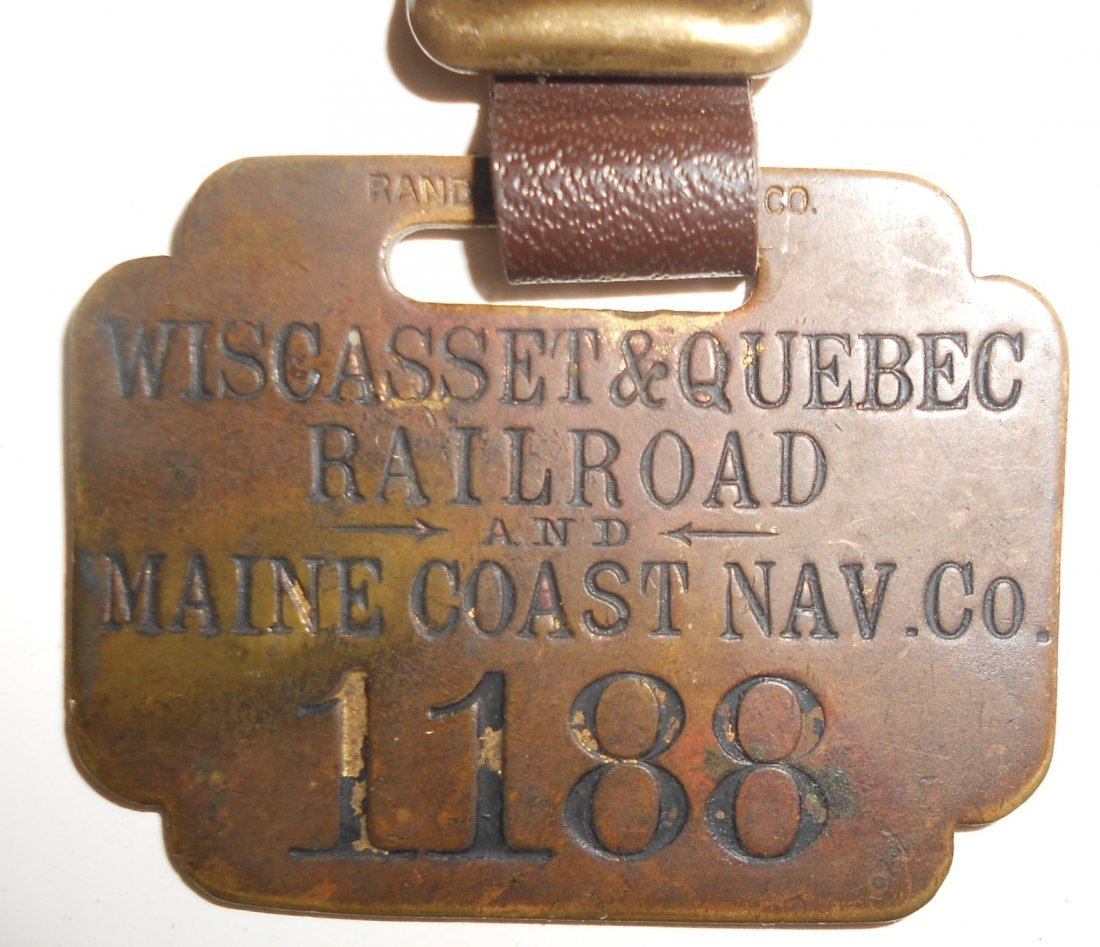 Wiscasset & Quebec Railroad Baggage Tag - 2