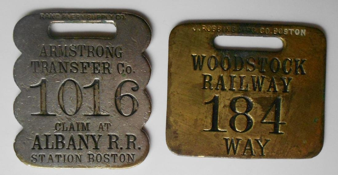 2 Brass New England Baggage Tags