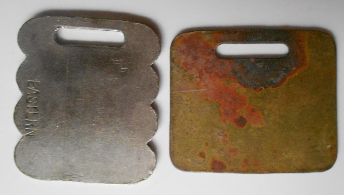2 Brass New England Baggage Tags - 2