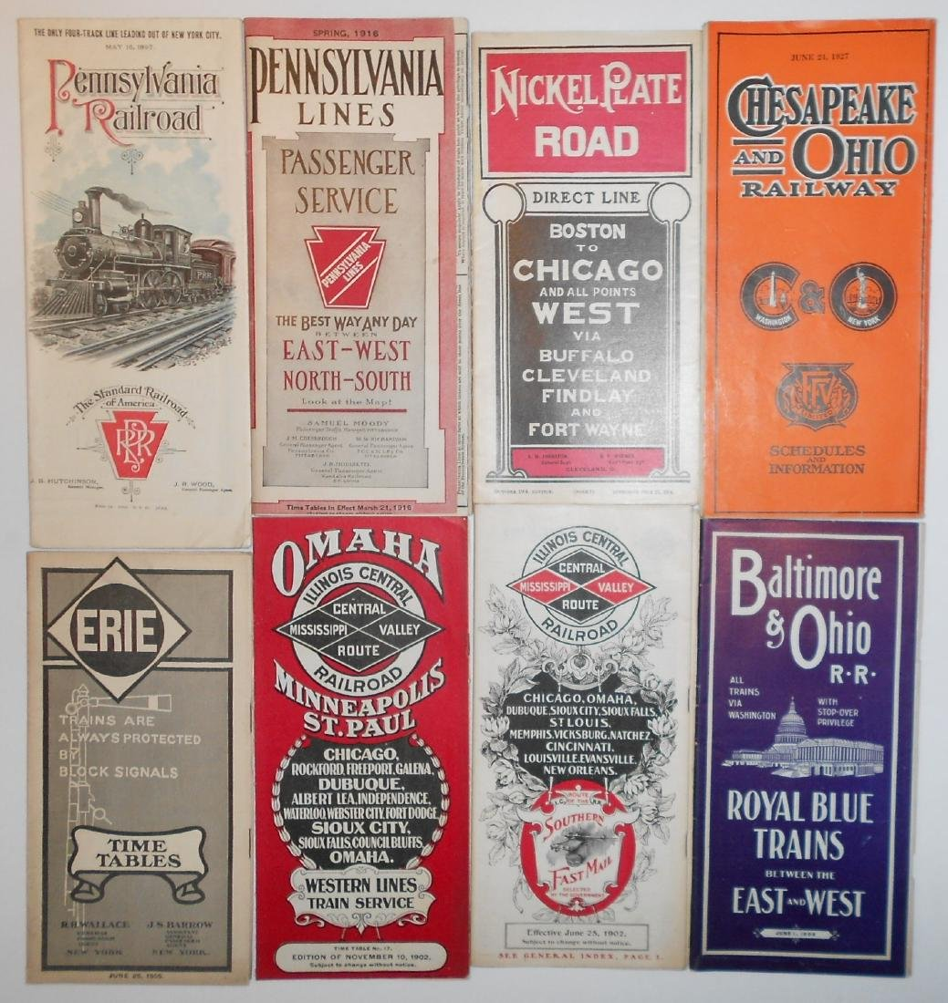"8 Eastern Timetables"" PRR, NKP, C&O, B&O, Erie, IC"