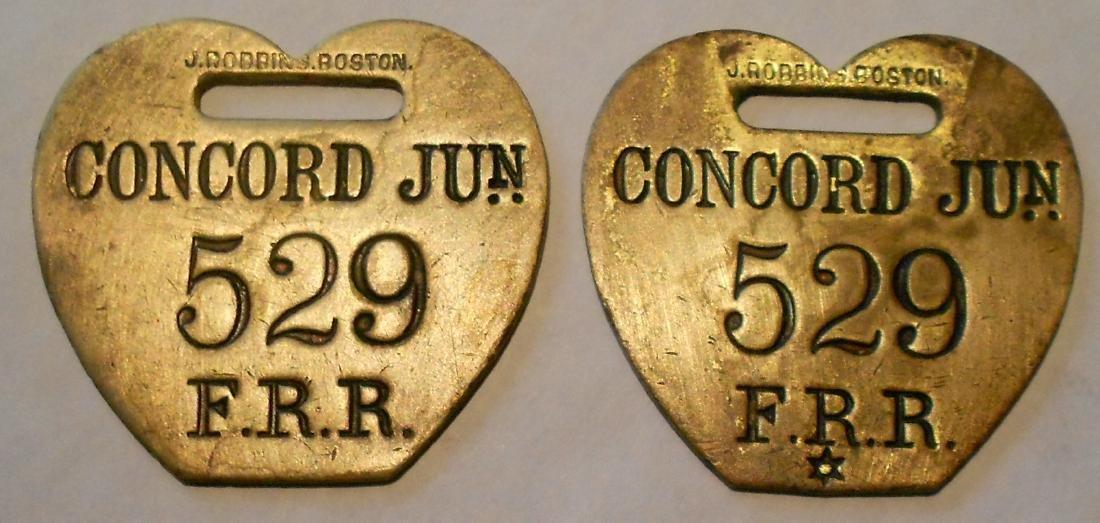 "Fitchburg Railroad Baggage Tag Set ""Concord Jun"""