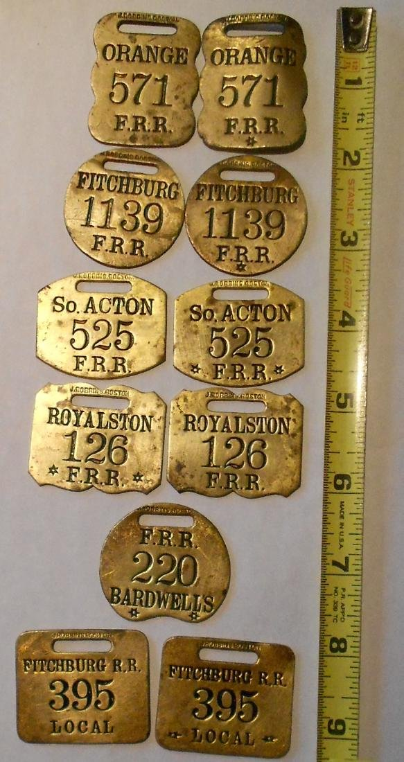 "Fitchburg Railroad Baggage Tag Set ""Concord Jun"" - 3"