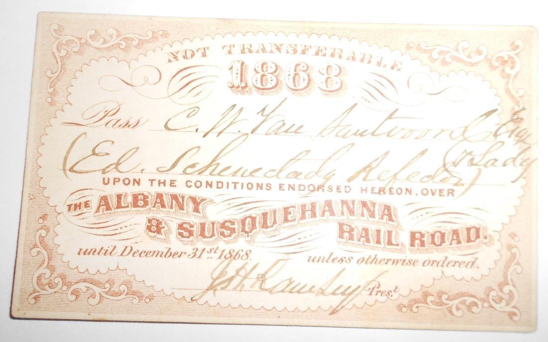 Albany & Susquehanna Railroad Pass 1868