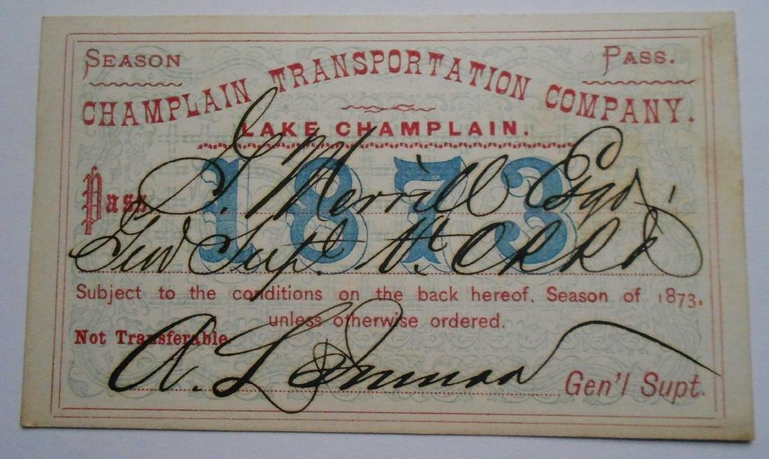 Lake Champlain Annual Boat Pass 1873