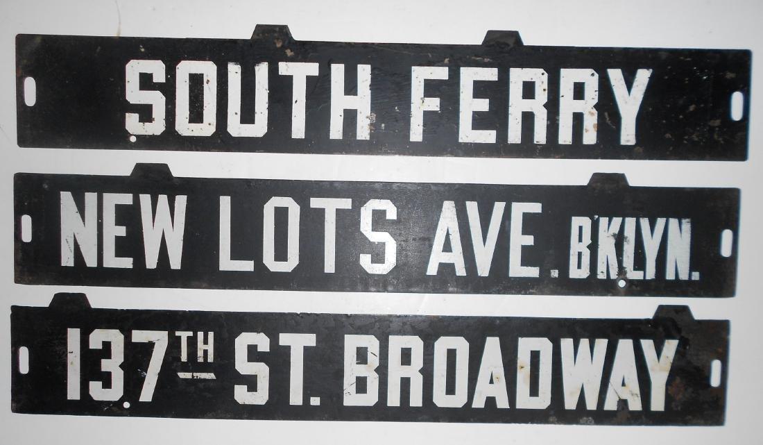 3 New York Destination Signs - Trolley Subway
