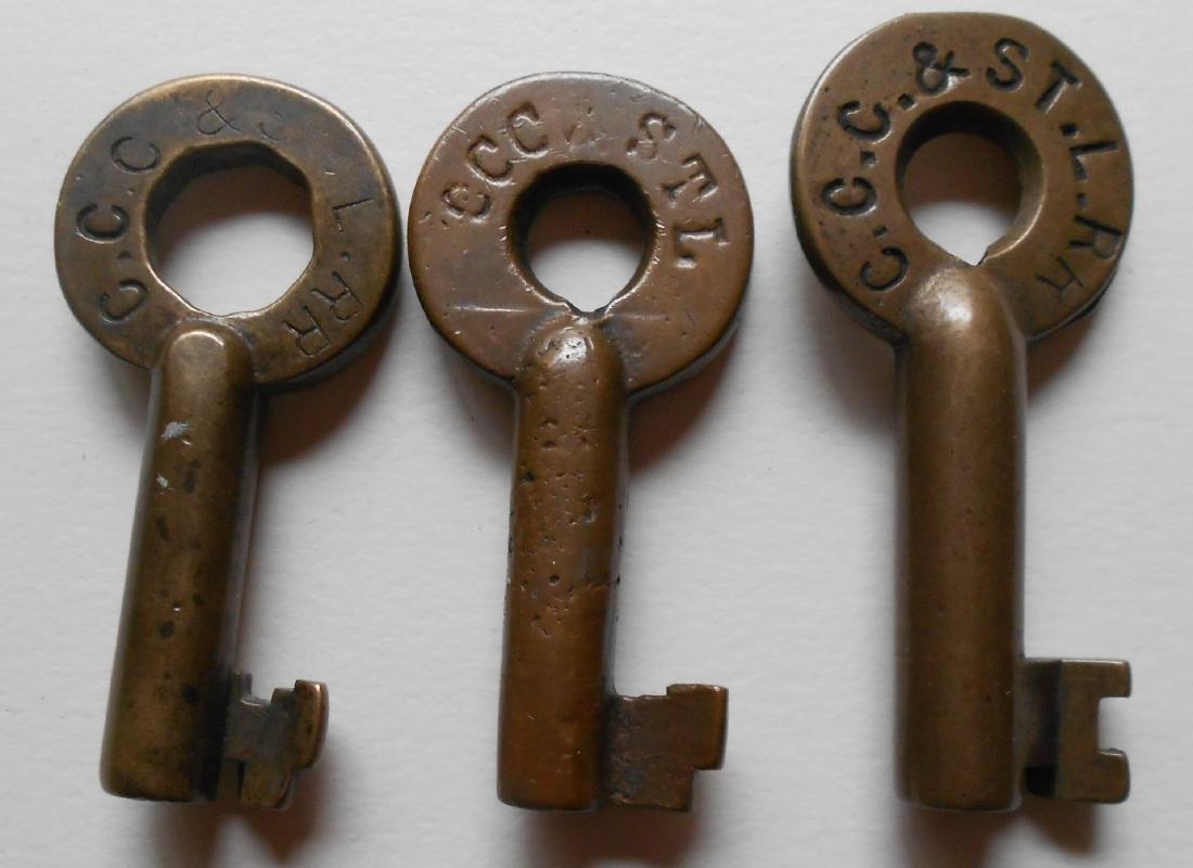 3 Brass Switch Keys Big Four CCC&StL
