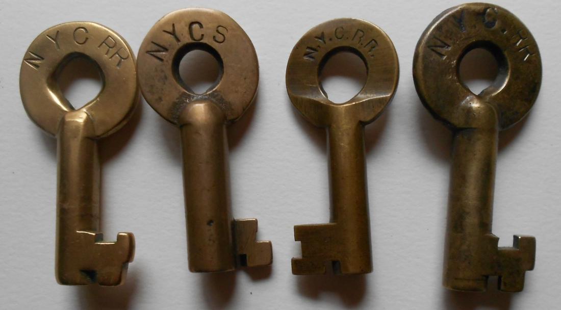 4 New York Central Brass Switch Keys