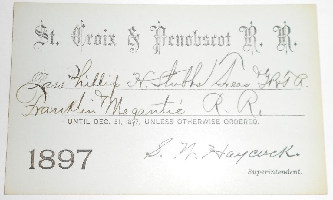 St Croix & Penobscot Railroad Annual Pass 1897