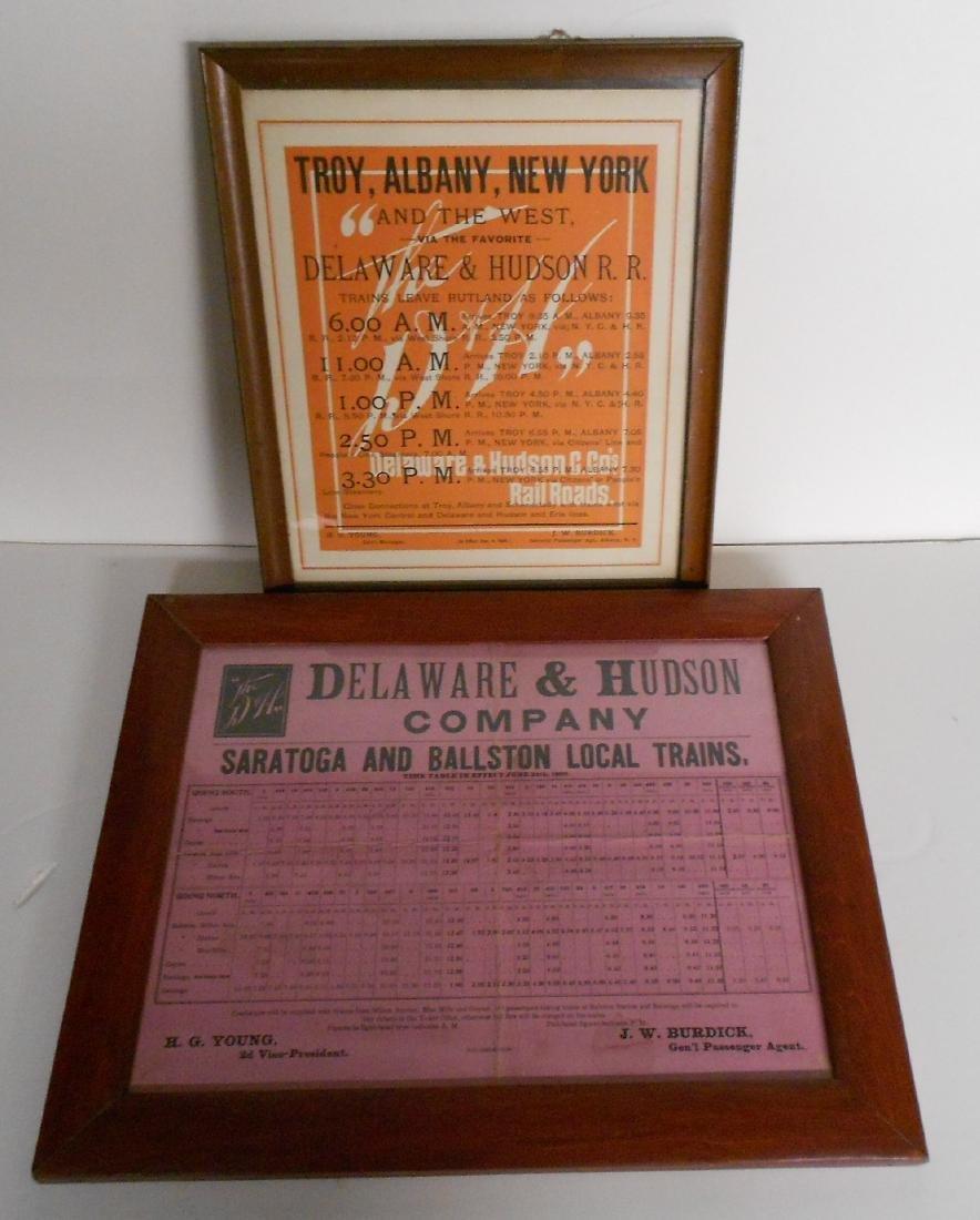 2 Framed Early Delaware & Hudson Schedules