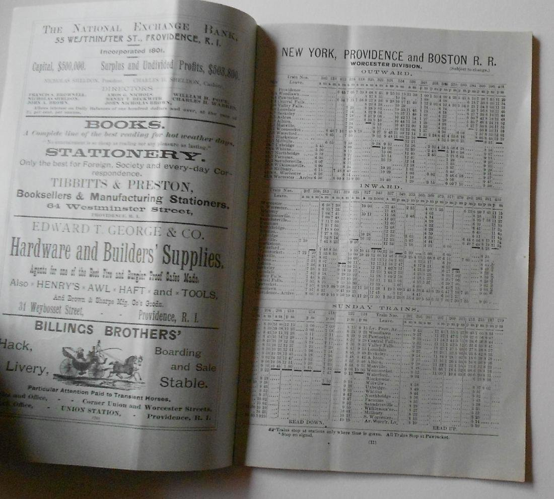 New York Providence & Boston Timetables 1800s - 3