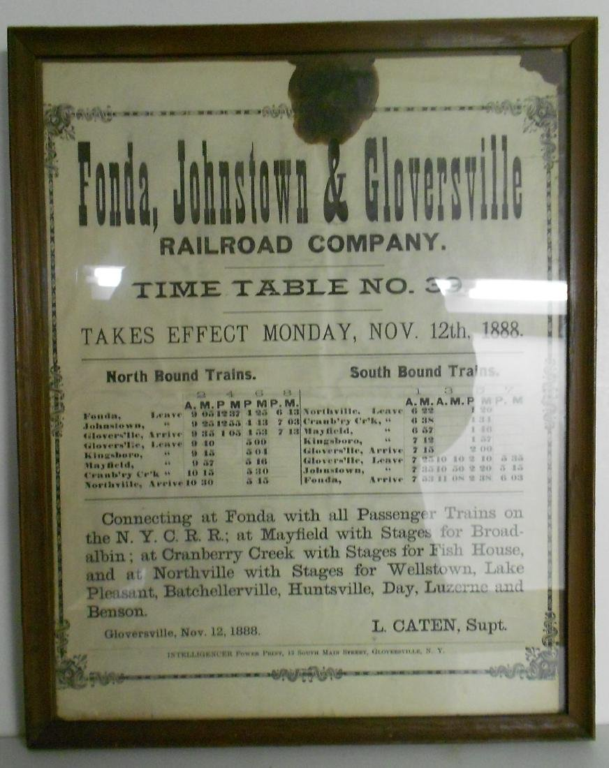 Fonda Johnstown & Gloversville 1888 Timetable