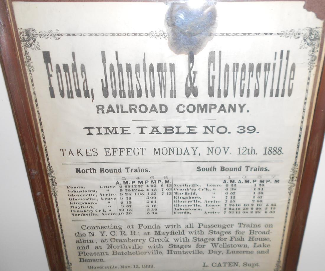 Fonda Johnstown & Gloversville 1888 Timetable - 2