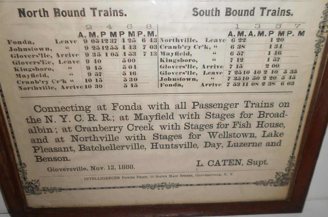 Fonda Johnstown & Gloversville 1888 Timetable - 3