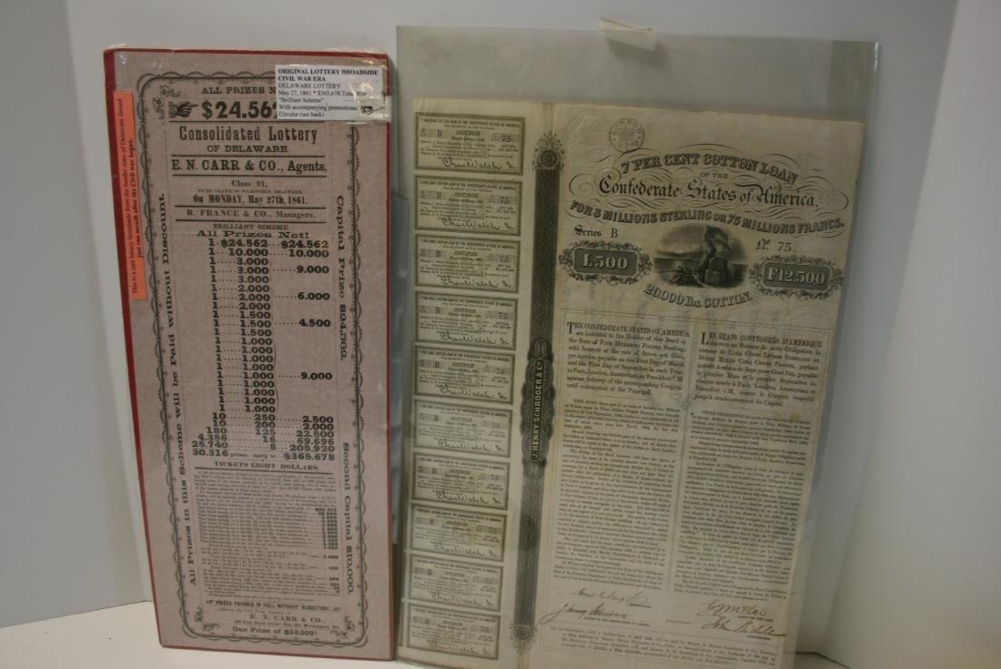 Broadside: CW Era Lottery Ticket,  1861, Rare, & Cotton