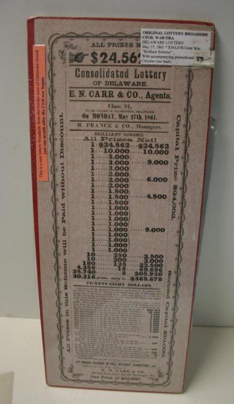 Broadside: CW Era Lottery Ticket,  1861, Rare, & Cotton - 2