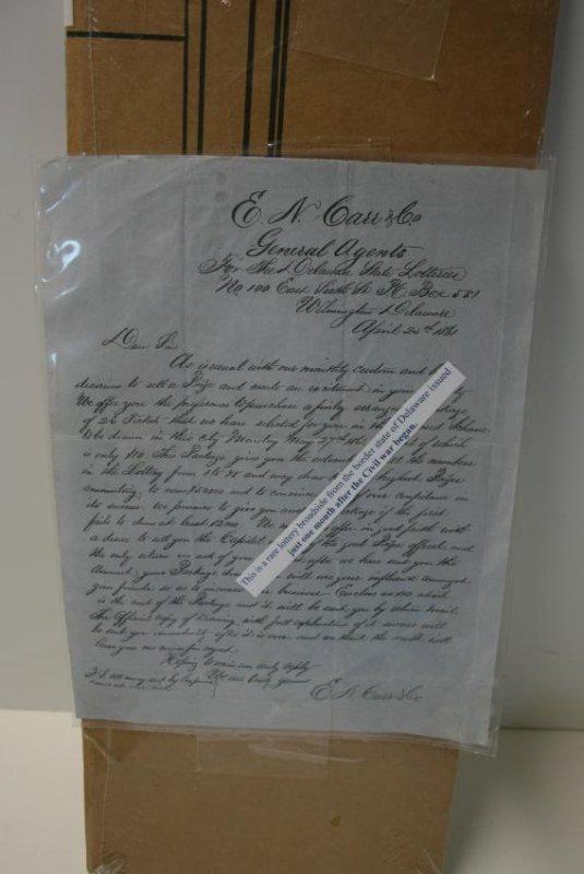 Broadside: CW Era Lottery Ticket,  1861, Rare, & Cotton - 3