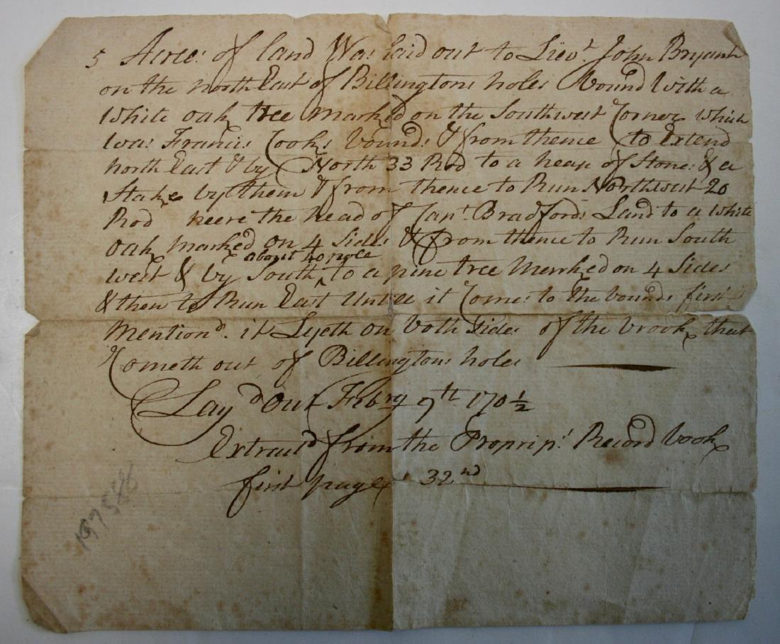 Document: Plymouth Mass 1702 Pilgrim related,