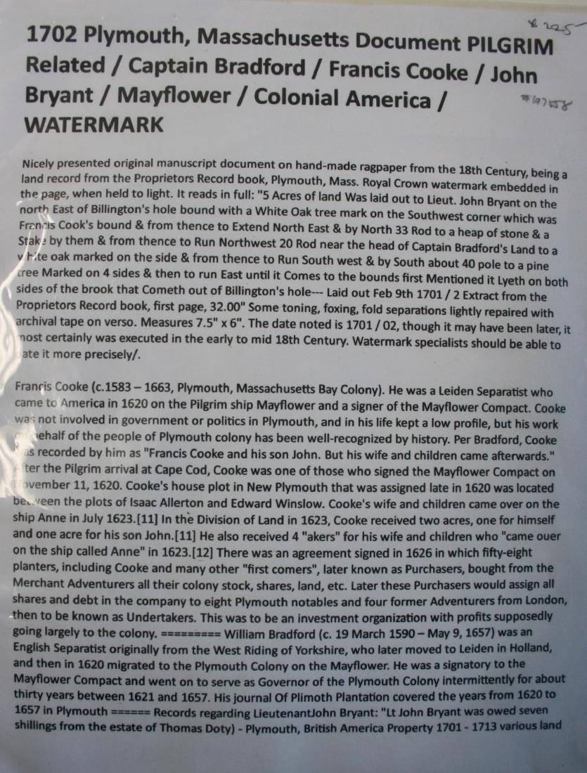 Document: Plymouth Mass 1702 Pilgrim related, - 2