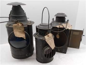 "3 Dressel ""Sample"" Lamps - Trolley, Mine, etc."