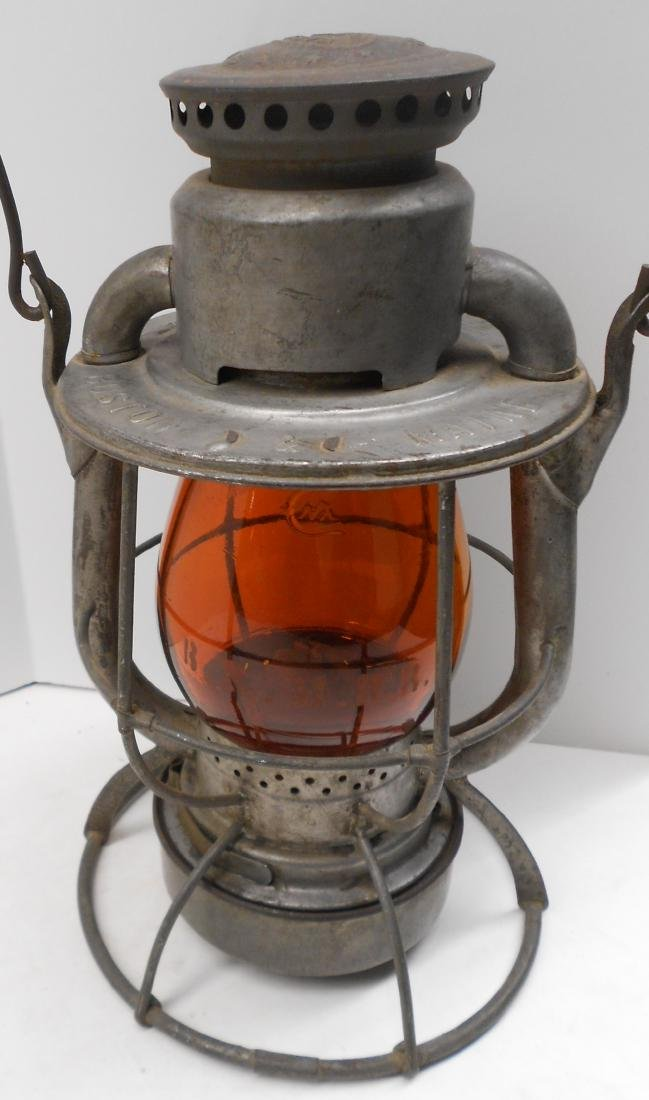 Boston & Maine Lantern Amber Etched Globe