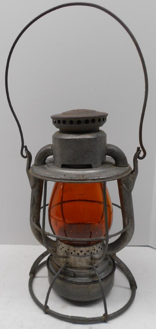 Boston & Maine Lantern Amber Etched Globe - 2