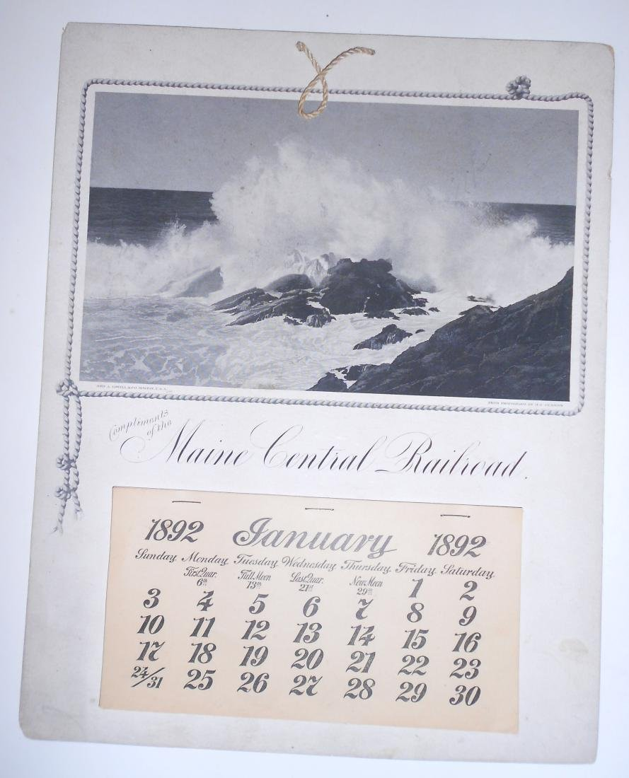 Maine Central Railroad Calendar 1892
