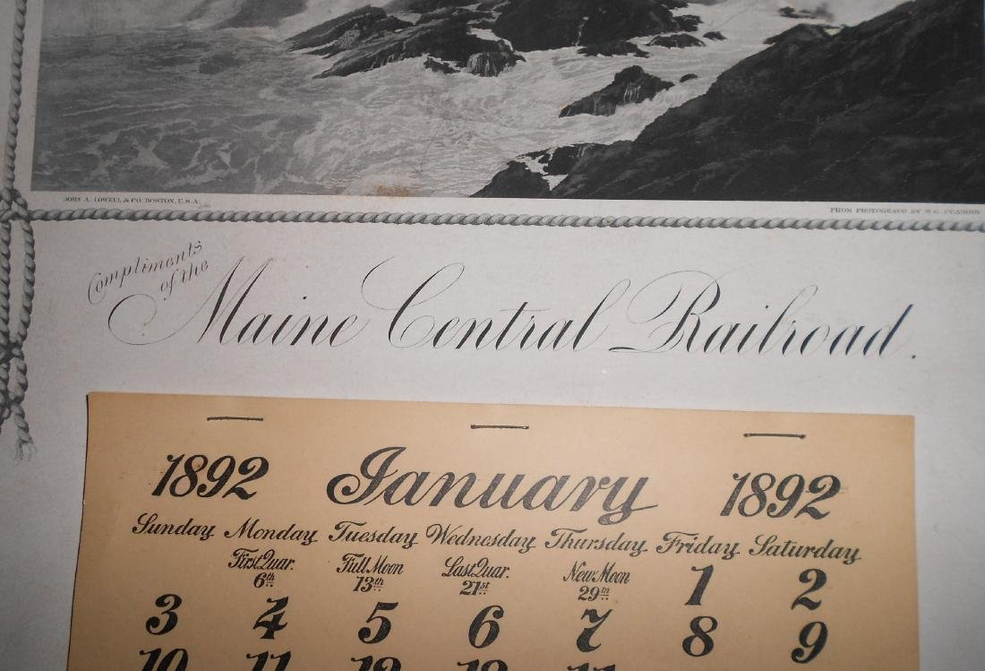 Maine Central Railroad Calendar 1892 - 2