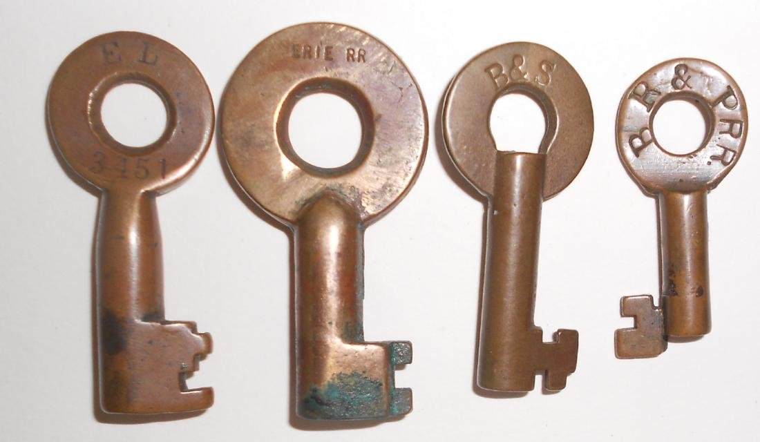 4 Railroad witch Keys: Erie, B&S, BR&P
