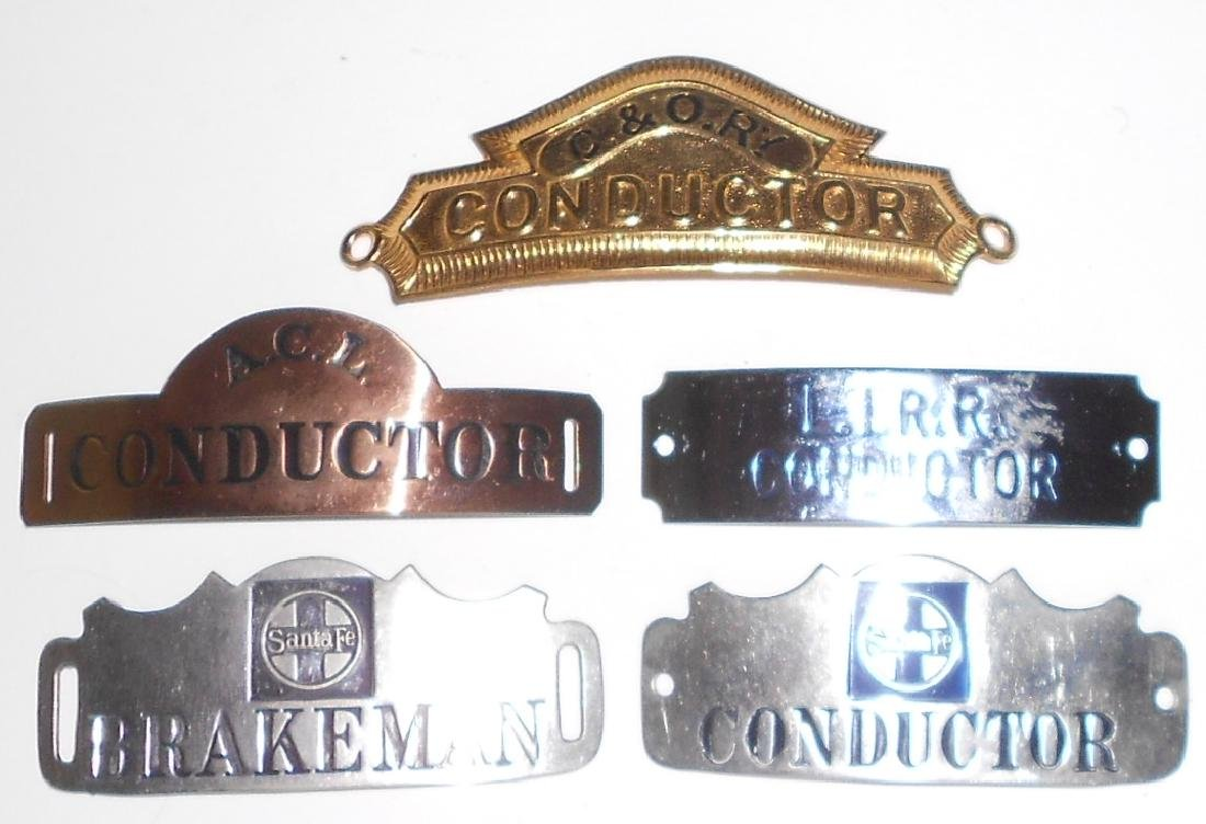 5 Hat Badges all with Railroad names - 2