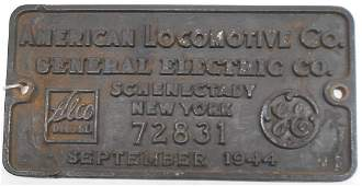 Alco Builder's Plate NYC S-2 Serial #72831