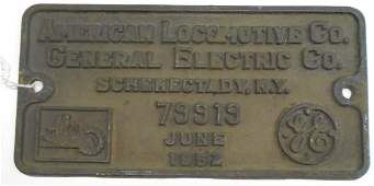Alco Builder's Plate PRR RS-3 #79919