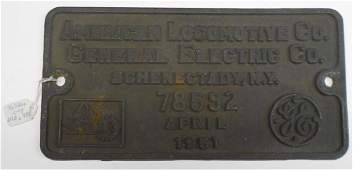 Alco Builder's Plate PRR RS-3 #78592