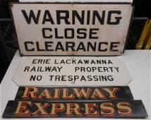 3 Signs: Clearance, EL Trespass, REA Express
