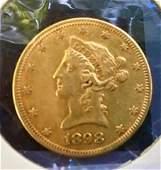 1898 Liberty Head Eagle, $10 Dollar Gold Coin