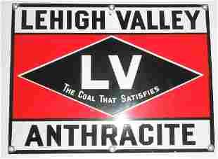 Lehigh Valley Porcelain Coal Sign